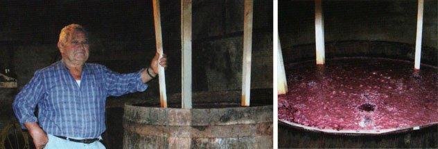 Amarcord Cattolica - Foto ricordo di Sesto Galli accanto al tino mentre all'interno avviene la fermentazione