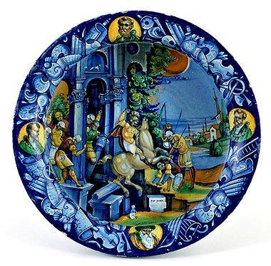 """""""Coppa Bergantini"""", Istoria del Sacrificio di Marco Curzio. Pietro Bergantini, Faenza, 17 giugno 1529 - Museo Internazionale delle Ceramiche di Faenza"""