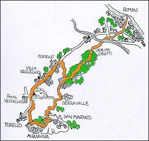Percorso ciclistico Rimini - S. Paolo - S. Marino - Corpolò - Rimini
