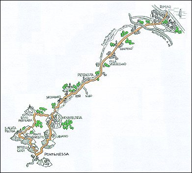 Percorso ciclistico : Rimini - Novafeltria - Petrella Guigi - S. Agata Feltria - Rimini