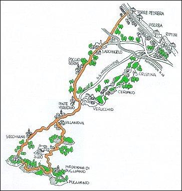 Itinerario ciclistico Rimini Novafeltria San Leo