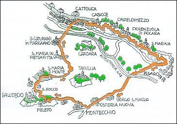 Percorso Cattolica - Pesaro - Tavullia - S. Maria del Monte - Cattolica