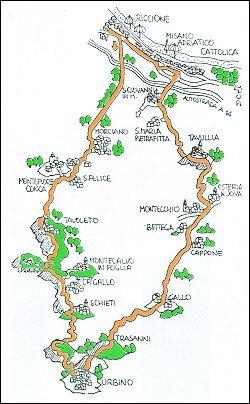 Itinerario via Riccione - Montefiore - Urbino - Tavullia - Riccione