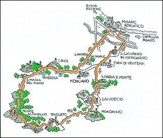 Tour cilistico via Misano - Saludecio - M. Osteriaccia - Morciano - Misano