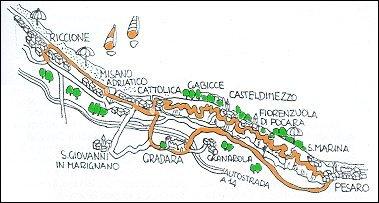Percorso ciclistico Riccione - Cattolica - Gradara - Pesaro - Panoramica - Riccione