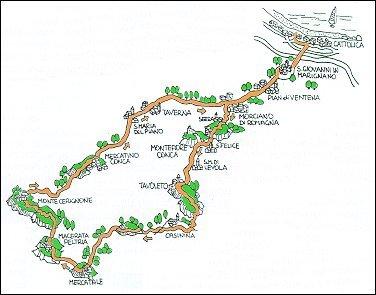 Itinerario ciclistico via Cattolica - Tavoleto - Monte Cerignone - Cattolica