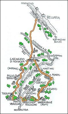Percorso ciclistico Bellaria - Santarcangelo - Verrucchio - Bellaria