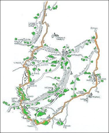 Percorso per ciclisti Rimini - Cerasolo - Mulazzano - Coriano - Rimini