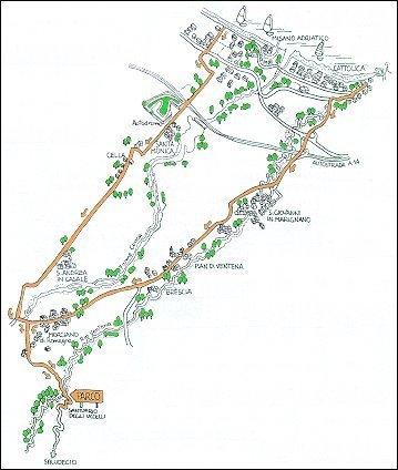 Itinerario ciclistico Cattolica - Pian Ventena - Morciano - S. Andrea - Misano