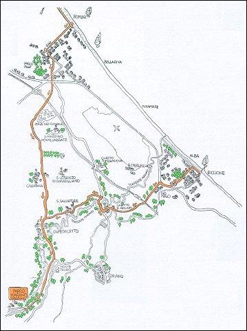 Itinerario ciclistico Riccione - Ospedaletto - Parco del Marano - Ospedaletto - Rimini