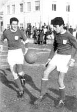 Capitan Antonio Zaccagni con Guido Calbi nella Folgore (la squadra dei 'frati')